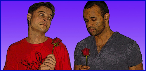 The characters, Allan and Warwick, modelled by David White and Majhid Heath